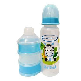 Combo bình sữa nhựa PP 250ml + hộp chia sữa 3 ngăn gluck baby
