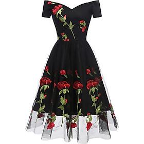 Váy Nữ Chữ A Vải Hoa Tay Ngắn Chân Váy Viền Ren