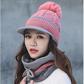 Nón len nữ kèm khăn choàng cổ thời trang Hàn Quốc dn19121651