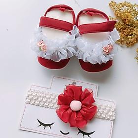 Bộ sản phẩm Giày tập đi + 1 Băng Đô cho bé gái sơ sinh từ 0 - 12 tháng - Quà tặng thôi nôi- Ma01- màu đỏ, 2 mẫu băng đô để khách chọn