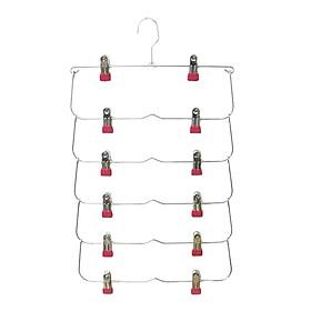 6 Tier Skirt Hangers Pants Hangers Closet Organizer Metal Fold up Space Saving Hangers, 3 Colors to Choose
