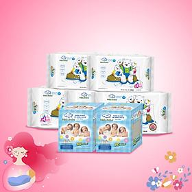 Combo thùng mini 2 hộp khăn vải khô đa năng cho bé và 5 Gói Khăn ướt làm sạch tinh khiết dành cho bé Oma&Baby với công thức Chlorhexidine Digluconate kháng khuẩn an toàn, dịu nhẹ trong khăn ( 85 tờ*3 + 25 tờ*2)