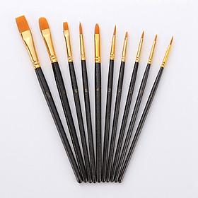 Bộ 10 Cọ Chuyên Dụng Để Tô Tranh Sơn Dầu, Vẽ Màu Nước Acrylic