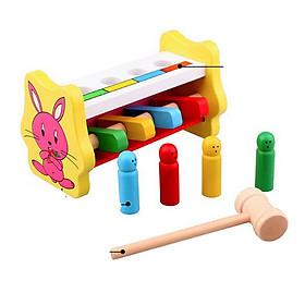 Bộ đập thỏ gỗ đồ chơi giáo dục, đồ chơi gỗ