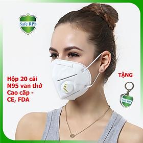 Hộp 20 cái Khẩu trang N95 Pro Mask, có van thở, kháng khuẩn, chống bụi siêu mịn PM2.5, màu trắng - ISO13485, CE, FDA - xuất khẩu Châu Âu , Mỹ ; Tặng móc treo khóa mica