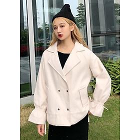 Áo khoác dạ nữ dáng suông ngắn 2 lớp