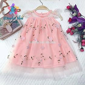Váy đầm công chúa cho bé gái ren 3 lớp hoa nổi cho bé từ 8kg đến 22kg( màu hồng)