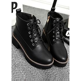Giày boot nữ cổ ngắn cột dây đế thô GBN0301