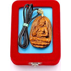 Vòng cổ mặt Phật A Di Đà - đá mắt hổ 5cm DEMHN7 - kèm hộp nhung - tuổi Tuất và tuổi Hợi
