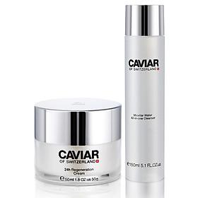 Bộ dược mỹ phẩm chống lão hóa nước thần làm sạch da(3 trong1) và kem mặt giàu tinh chất phục hồi Caviar of Switzerland