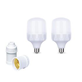 Bộ 2 Bóng đèn Led Trụ buld 30w / 40w / 50w  và 2 đuôi đèn E27 xoáy trắng