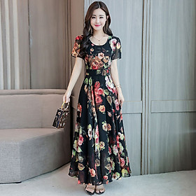 Fun Floral Printed Leisure Dress of Short Sleeves and Round-neck Leisure Costume for Woman Summer