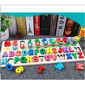 Bảng chữ cái và số cho bé kèm hình khối cột tính bậc thang, đồ chơi học tập, bảng ghép hình bằng gỗ thuộc giáo cụ Montessori giúp phát triển trí tuệ và kỹ năng cho trẻ - tặng kèm còi gỗ cho bé