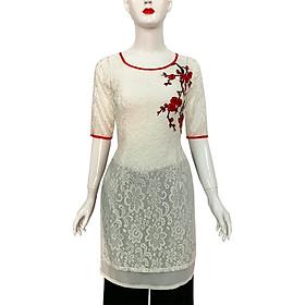 Áo dài cách tân nữ 2 tà đính bông thêu hoa đào SANGCHANH3041