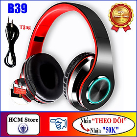 Tai Nghe Bluetooth V5.0 Chụp Tai B39, Tai Nghe Bass Cực Mạnh, Pin 400mAh, Có FM, Thẻ Nhớ - Hàng Chính Hãng
