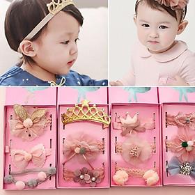 Set bộ 3 tuban cài tóc cho bé gái - Làm quà tặng - Băng đô - Mềm mại - Co dãn