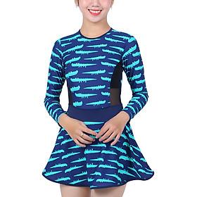 Bikini 1 Mảnh Monica Họa Tiết Cá Sấu Tay Dài BIT 3008 - Xanh (Free Size)