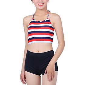 Bikini 2 Mảnh Monica Áo Yếm Đan Dây Lưng BIT 3014 - Sọc Đỏ Xanh (Free Size)
