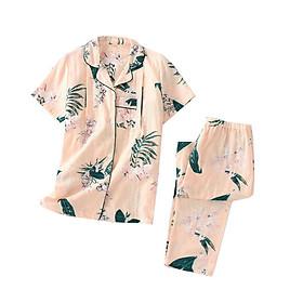 Bộ đồ PYJAMA bầu và sau sinh ngắn tay thô đũi mặc nhà mùa hè có cúc mở cho con bú tiện lợi chất mát AZ300320