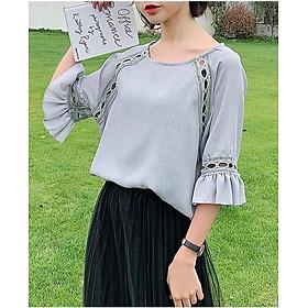 Áo nữ cách điệu mẫu xuân hè Đũi Việt DVSM20