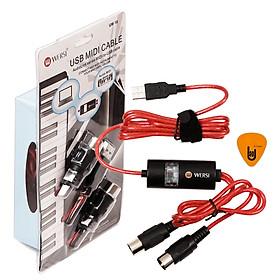 Dây Cáp Midi To USB Cable Cao Cấp Cho Organ, Keyboard WERSI UM-18 (Kết nối truyền tín hiệu, âm thanh sang Computer, Laptop, PC, Smartphone - Hoặc từ Midi sang Midi) -  Kèm Móng Gảy DreamMaker