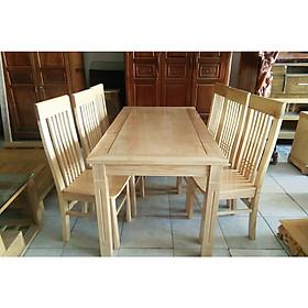 Bộ bàn ghế ăn gỗ sồi 6 ghế mặt liền