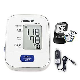 Máy đo huyết áp bắp tay Omron HEM-7120 + Tặng bộ đổi nguồn + Tặng máy đo đường huyết Gluneo Lite Hàn Quốc