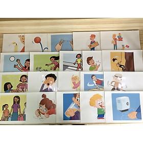 Verb Flashcards (Set 1) - Thẻ học tiếng Anh chủ đề Các động từ (Bộ 1) - 20 cards: blow, bounce, break, bring, buy, catch a ball, ...