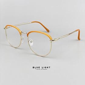 Kính Giả Cận, Gọng Kính Cận Nam Nữ Mắt Tròn Màu Vàng Cam Nổi Bật Hàn Quốc - BLUE LIGHT SHOP