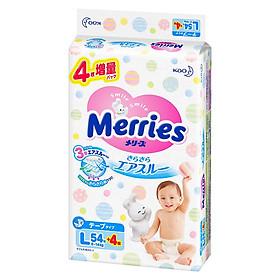 Tã dán Merries nội địa cộng miếng size L54+4 (9-14kg)