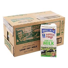 Thùng 12 Hộp Sữa Tươi Tiệt Trùng Ít Béo Harvey Fresh (1L / Hộp)