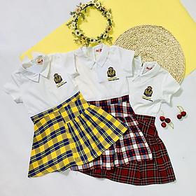Đầm Xòe Bé Gái Phối Tùng Caro YF - Logo Hoàng Gia Princess Thêu Nổi - Màu Caro Đỏ, Vàng, Đỏ Trắng - Giao Màu Ngẫu Nhiên - Size Từ 12 Đến 48 Kg - 9DX558