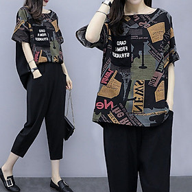 Retro printed suit short sleeve new women's temperament fashion trend two-piece women