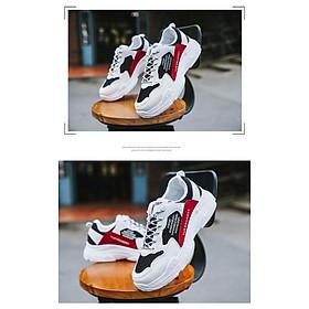 Giày Nam Thể Thao Sneaker Trắng Vải Dệt Đế Cao Su Nguyên Khối Siêu Êm Chân Phối Đen Đỏ Cực Chất Phong Cách Hàn Quốc (Hình thật) CTS-GN052-4