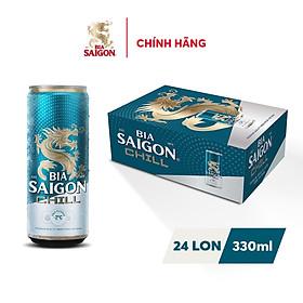Thùng 24 Lon Bia Sài Gòn Chill 330ml