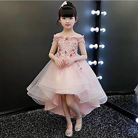 Đầm công chúa dự tiệc cho bé gái hồng ruốc vai thuyền đính cườm thân đuôi tôm DBG45 từ 2 3 4 5 6 7 8 9 10 tuổi nặng 10 12 đến 25 30 35 kg