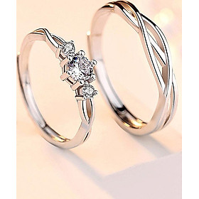 Cặp nhẫn đôi bạc S925 - mẫu mới 2019 - Đính Đá lấp lánh (ND.A3.B)