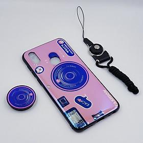 Ốp lưng hình máy ảnh kèm giá đỡ và dây đeo dành cho Vivo V11i,Vivo V15,Vivo Y71