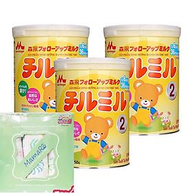 Combo 3 hộp sữa Morinaga Chilmil ( 850g)  tặng 1 bộ 3 khăn tắm xô cho bé