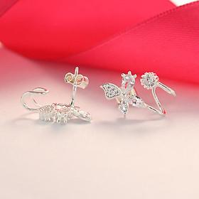Bông tai nữ bạc 925 - Khuyên tai bạc nữ đẹp đính đá hình cánh bướm BTN0083