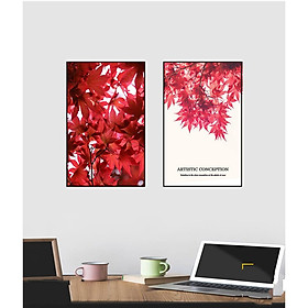 Bộ 2 Tranh Red Maple Leaf