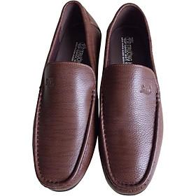 Giày mọi nam Trường Hải trơn da bò thật màu nâu đế cao su không trơn thời trang nam cao cấp GMTH074