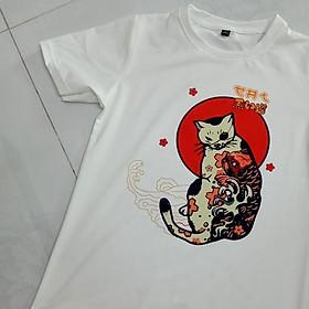 Áo Thun Nam Màu Trắng In Hình Mèo Hoa Mặt Trời Đỏ ATN5105