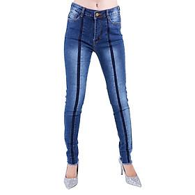 Quần Jeans Nữ Phối Sọc Giữa Không Gấu JNT008