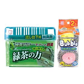 Combo Set 2 Miếng Inox Lõi Mút Cọ Rửa Xoong Nồi + Hộp Khử Mùi Ngăn Tủ Bếp Hương Trà Xanh - Nội Địa Nhật Bản