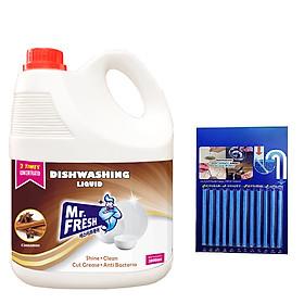 Nước rửa chén bát Mr Fresh siêu sạch 3,8 L An toàn cho da tay , không bám mùi trên bát đĩa - Tặng 1 vỉ que thông tắc tự tiêu