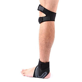 1 Pair Knee and Ankle Supports Set Breathable Adjustable Dual Strap Neoprene Knee Ankle Brace Support Straps for Injury Recovery R-2