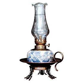 Đèn thờ dầu men rạn chân đồng dáng đĩa gốm sứ Bát Tràng (đèn dầu, đèn thờ cúng)