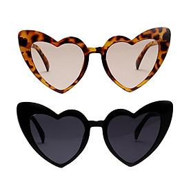 2pcs Women Heart Shaped Sunglasses Beach Sun Glasses Shades UV400 Eyewear