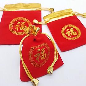 Combo 10 túi gấm đỏ hoa văn ấn tròn in chữ Phúc phong thủy MAY MẮN và TÀI LỘC - PCCB MINGT